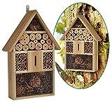 bambelaa. Hôtel à insectes Hôtel insectes abeilles avec toit pointu Abri en bois pour les guêpes, abeilles, papillons et coccinelles en matériaux naturels Natur Pur (48x 31x 10cm)–1pièce