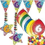 Carpeta 54-Teiliges Partydeko Set * Zahl 6 * für Kindergeburtstag Oder 6. Geburtstag mit Girlande, Rotorspiralen, Luftschlangen und Vielen Luftballons