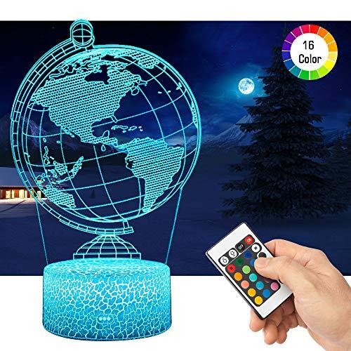 3D Globus Lampe LED Nachtlicht mit Fernbedienung, QiLiTd 16 Farben Wählbar Dimmbare Touch Schalter Nachtlampe Geburtstag Geschenk, Frohe Weihnachten Geschenke Für Mädchen Männer Frauen Kinder