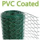 CrazyGadget® Chicken Wire Mesh Rabbit Animal Fence Green PVC Coated Steel Metal Garden Netting Fencing 25m (0.9m x 25m)