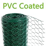 CrazyGadget Chicken Wire Mesh Rabbit Animal Fence Green PVC Coated Steel Metal Garden Netting Fencing 25m (1.2m x 25m)