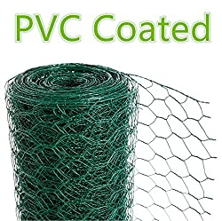CrazyGadget Chicken Wire Mesh Rabbit Animal Fence Green PVC Coated Steel Metal Garden Netting Fencing 25m (0.6m x 25m) - Hole Size: 25mm