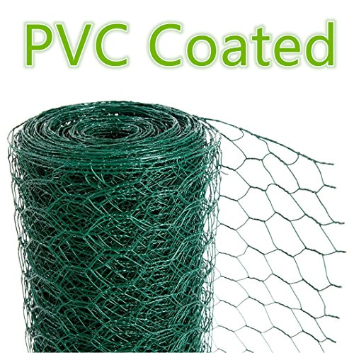 CrazyGadget® Chicken Wire Mesh Rabbit Animal Fence Green PVC Coated Steel Metal Garden Netting Fencing 25m (0.6m x 25m) Test