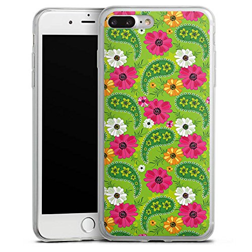 Apple iPhone 8 Plus Slim Case Silikon Hülle Schutzhülle Blumen Muster Bunt Silikon Slim Case transparent