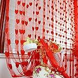 Y56 Nette Herzlinie Quaste Schnur Tür Vorhang Fenster Raum Vorhang Valance Sheer Voile Tür Fenstervorhang (Red)