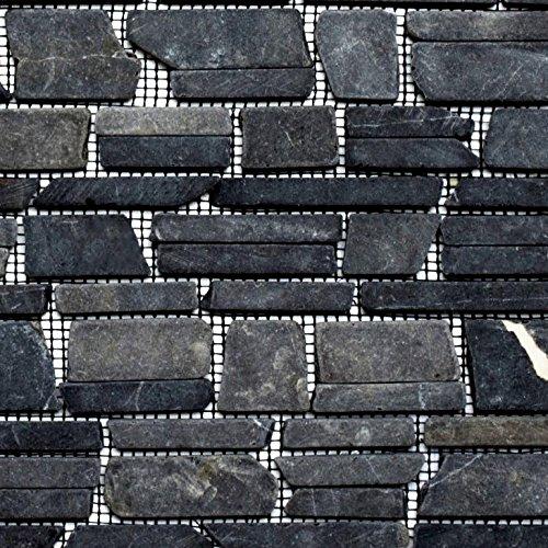 Mosaik Fliese Marmor Naturstein schwarz Brickmosaik Neromarquina für BODEN WAND BAD WC DUSCHE KÜCHE FLIESENSPIEGEL THEKENVERKLEIDUNG BADEWANNENVERKLEIDUNG Mosaikmatte Mosaikplatte