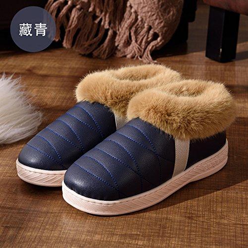 DogHaccd pantofole,Autunno Inverno uomini e donne paio di pantofole di cotone di spessore a caldo con anti-skid pacchetto di soggiorno in un lussuoso scarpe di cotone 9 blu scuro1