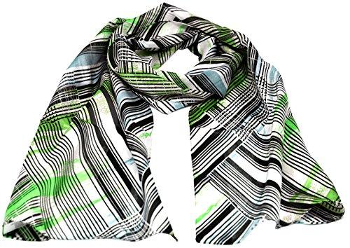 azzesso - Damen Schaltuch Victoria grün, ca. 36 x 160 cm, Schal mit Streifen Muster, modisch aktuelles Halstuch (Diagonal-streifen-schal)
