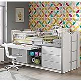 Pharao24 Kinderhochbett mit Schreibtisch Weiß