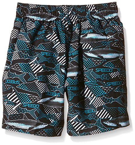 Speedo Jungen Badeshorts Printed Leisure 15 Zoll Watershorts, 8-09040A341 Black/Blue