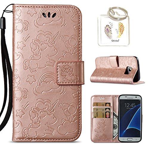 für Samsung Galaxy S7 Edge Hülle Geprägte Muster Handy PU Leder Silikon Schutzhülle Handy case Book Style Portemonnaie Design für Samsung Galaxy S7 Edge + Schlüsselanhänger(/*135) (2) (Frauen Zwei Case Pocket)