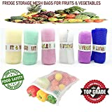 #10: DADDY G Mesh Multi-Purpose Vegetables and Fruits Fridge Storage Washable Zip Bags (Multicolour) - Pack of 12