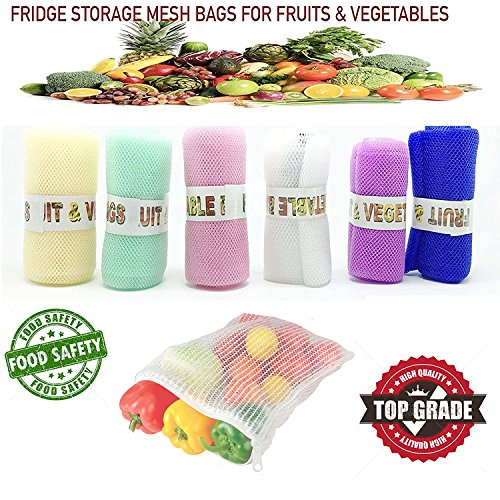 DADDY G Mesh Multi-Purpose Vegetables and Fruits Fridge Storage Washable Zip Bags (Multicolour) – Pack of 12