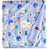 Baby Bucket AC Blanket BIG Size (Double Layer Velvet Fleece From 0 To 4 Years .Size:4 X 5 Feet Colour:L.Blue)