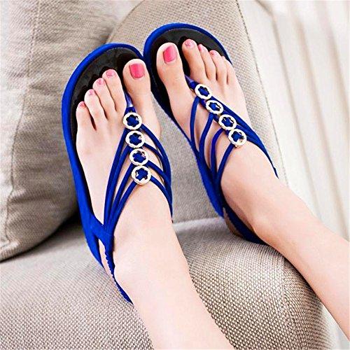 LXNW Le style coréen est une inclinaison de base épaisse avec le mot perles de perles toe beach flat Sandales pour dames bleu