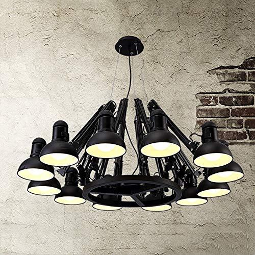Xiao Yun ☞ * Skalierbare Pendelleuchte zum Aufhängen von Sauglampen mit doppeltem Verwendungszweck, 2 Farben, 6/9/12 Lichter optional (Farbe: BLACK-12 Light) ☜ - Stahl Zwölf Light Kronleuchter