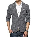 Vividda Slim Fit Freizeit Baumwolle Herren Sakko Blazer Business Anzug Kurzmantel XS S M L Small Grau