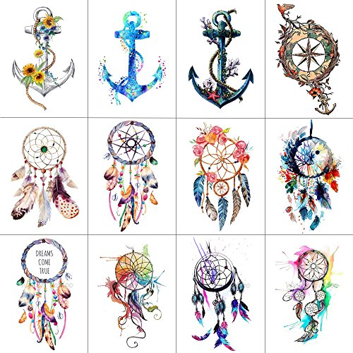 WYUEN 12 Teile/los Dreamcatcher Anker Temporäre Tattoo Aufkleber für Frauen Männer Körperkunst Wasserdichte Hand Gefälschte Tatoo 9,8X6 cm W12-10