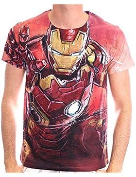 Iron Man - camiseta de la impresión de tamaño completo en estilo cómico - T Vengadores licencia oficial - Gargantilla