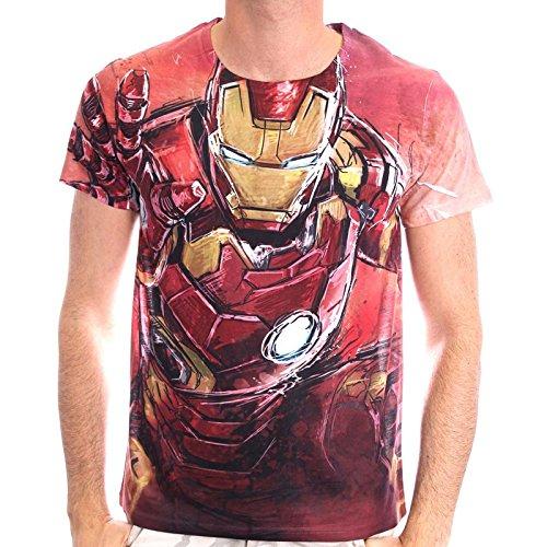 Marvel Comics Hombres Iron Man voladura sublimación de impresión T-Shirt (XL, rojo)