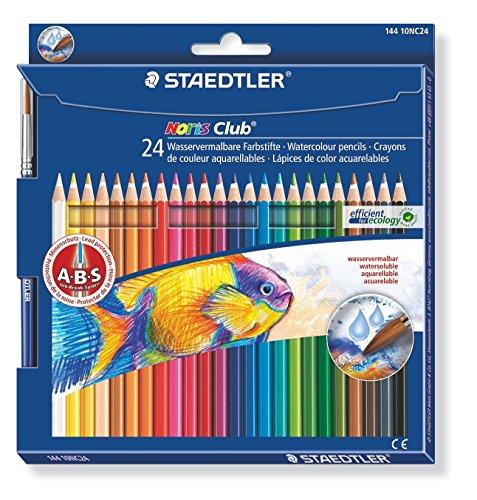 Foto de Staedtler lápices de colores acurelables Noris aquearell,  ABS: alta resistencia a las roturas, forma clásica hexagonal, pack de 24 lápices de colores de madera en colores surtidos y 1 pincel Staedtler, 144 10NC24