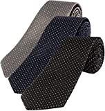 #6: FASTECK Polka Dot Slim Formal Tie for Men - Polyester Necktie for Men - Formal Ties for Men (set of 3- Black, Blue, Grey)