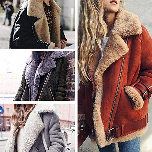 Minetom Damen Mode Warm Casual Streetwear Winter Wildleder Wolle Motorradjacke Mantel Fleece Outwear Jacke Parka Mit Taschen Dunkelgrün DE 38 - 2