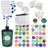 250ML Crystal Epoxy Resin UV Glue, 1 Piezas Mini UV LED Lamp, 1 Tweezer 4 Kit Set...