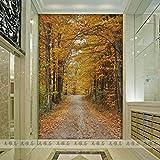 Tsqqst Fototapete 3D Nahtlose Große Wand- Wohnzimmerdurchgangsweg-Hintergrundtapete Fernsehentapete Waldweg