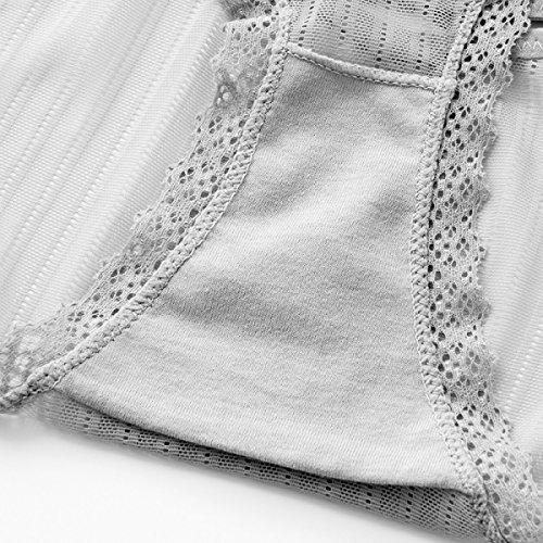 POKWAI Frauen Schlüpfer Ultra - Bequeme Sexy Net Garn Breathable Unterwäsche Lace Transparente Dreieckige Hosen Straps Temptation Pure Cotton Stalls White