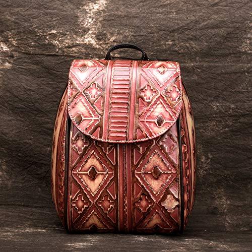 Yyzhx Weibliche Tasche Mode Retro-Umhängetasche Handwerk Schulter Pack Färbung Persönlichkeit Lady Rucksack Tasche Prägung