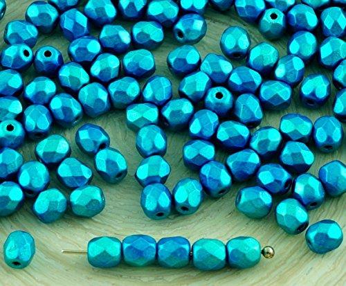 100er Metalust Türkis-Metallic Tschechische Glas Runde Facettierte, Feuer-Polierte Perlen Kleine Spacer 4mm - Feuer Glasperlen Polnischen Tschechische 4mm