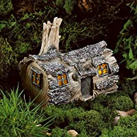CHRISTOW Solar Powered Fairy House Log Dwelling, LED Patio Garden Light, Outdoor Ornament, Home Of Candy Crab-Apple