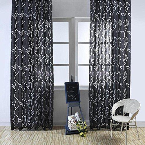 Tangbasi - tende in tessuto voile per porte e finestre, motivo a foglie, decorazione per camera da letto, nero , taglia unica