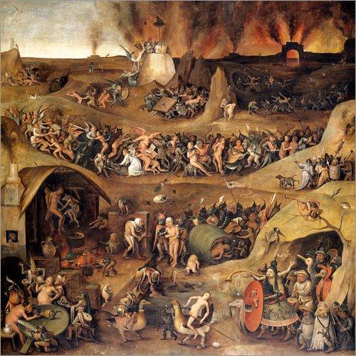 Poster 30 x 30 cm: Das Inferno von Hieronymus Bosch - Hochwertiger Kunstdruck, Kunstposter