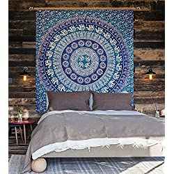 Alfombra hecha a mano Hippie Colgante de pared Cobertor de colchón Decoración del hogar, Hippie Boho Tapestry Playa Picnic Throw, Tapiz de elefante Pared de la India Colgante Bohemian Hippie Elephant Bohemian Mandala Tapestry,