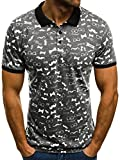 OZONEE Herren Poloshirt mit Motiv Kurzarm Hemd Aufdruck Slim-Fit Polohemd Figurbetont MACH/215 Dunkelgrau XL