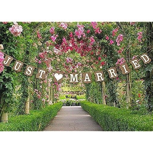 Wedding decorations for reception amazon stonges just married wedding bunting cardboard wedding decoration vintage junglespirit Gallery