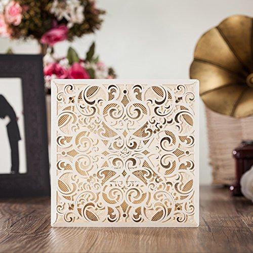 wishmade Laser geschnitten Einladungen Karten-Set mit passenden Thank You Karte und Antwortkarten mit Briefumschlag für Hochzeit Party Geburtstag Anlass cw6109 (Baby-segen-einladungen)