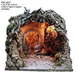 artigianale CAPANNA Vuota in Sughero con LUCI 30x30x28H cm pastori presepe Grotta GB12