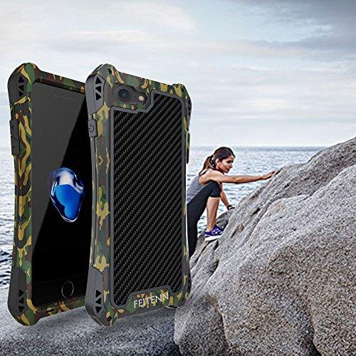iPhone 7 Hülle Case, Eastcoo Armor wasserdicht Leistungsstarke stoßfest Alloy Aluminum Metal Bumper Schutzhülle Gorilla Glass Soft silikon Military Schwer Metall Militär starkes stoßfestes Handy Metal Camouflage