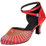 Tango Cha-cha, Scarpe da Danza Professionali, da Donna, con Strass, Punta Chiusa