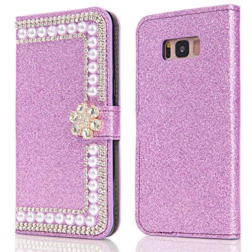Samsung Galaxy S8 Funda Brillante Sparkling Glitter Cover Bling Bling Diamante Case Cover PU Cuero Shell con Flip Stand Case e Cierre Magnético Anti-Drop Cover Violeta