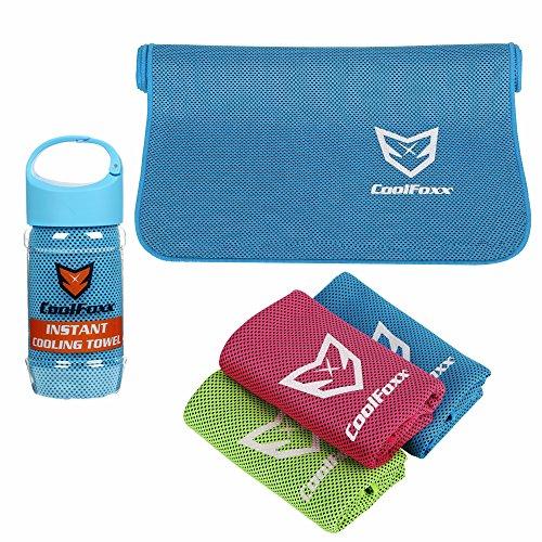 CoolFoxx Instant Cooling Handtuch, Relief Breathable Natürliche Hypoallergene Polyester Mikrofasern Bandana Schal Sweat Handtuch für Yoga Golf Zumba Gym Travel Camping Wandern, 39 * 12 Zoll (blau) (Eis Angeln Handtuch)