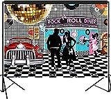 musykrafties 50er Jahre Diner Kulisse groß Banner Dekoration Dessert Tisch Hintergrund Fotobooth Requisite 2,1m x 1,5m