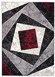 TAPISO Tappeto Salotto Moderno – Colore Nero Disegno Quadrato di Inspirazione Nuovo – Morbido – Facile da Pulire – Prezzo Economico 140 x 200 cm