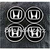 Honda negro emblema rueda centro tapa adhesivo logotipo de rueda–55mm Dome–Juego de 4