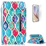 KaseHom Pelle Portafoglio Custodia Case for Samsung S6 ModaColorato Modello con Slot Schede e Cinturino da Polso(Con Gratuito Proteggi Schermo)Antiurto Caso-Piuma di Pavone