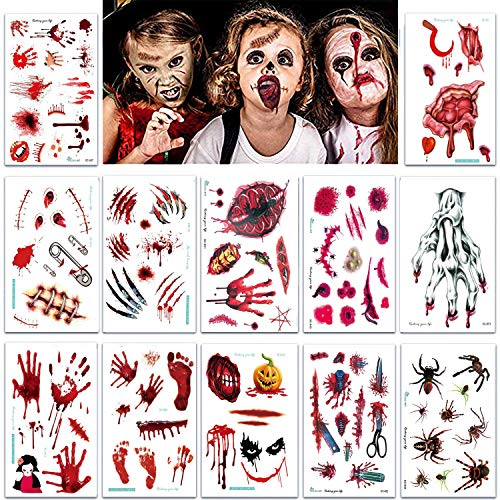 Temporäre Tattoos 12 Blätter, Halloween Blutende Wunde Narbe Blut Temporäre Tattoos Gefälschte Blut Aufkleber für Party Cosplay Horror Kostüm Karneval ()