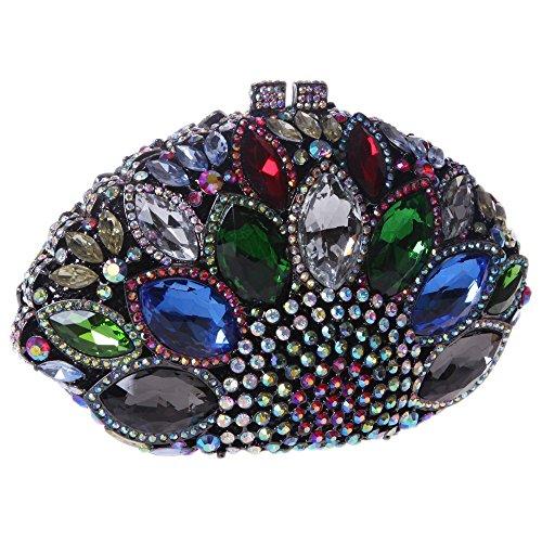 Santimon Clutch Delle Donne Grande Diamante Borse Da Festa di Nozze Sera A Forma Di Conchiglia Di Mare Strass Diamante Cristallo Con Tracolla Amovibile 4 Colori multicolore